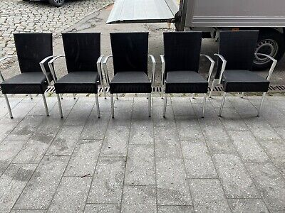 Used Black Nylon  Outdoor Stacking Side Chairs Pub Restaurant Cafe Bistro