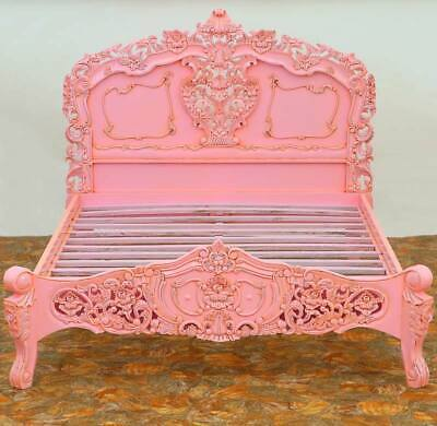 GLAMOUR HOLLYWOOD-STYLE DOPPELBETT QUEEN SIZE BETT - ROCOCO PRINCESS BED in PiNK