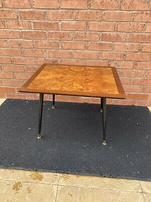 Vintage Burr Walnut Effect Side/coffee Table, Art Deco Mid Century Dansette Legs
