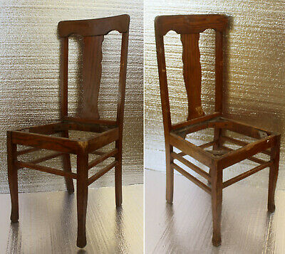 PAIR ANTIQUE VINTAGE Queen Anne Oak Wood Wooden Side Dining