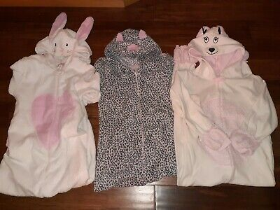 3 x girls age 13  Primark fleece onsies all-in-one pjs pyjamas