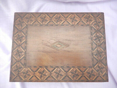 Antique vintage wooden writing slope box with inlaid top