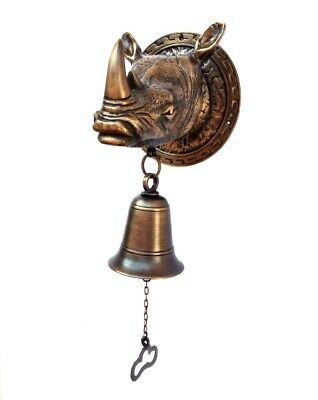 "Large RHINO Bell heavy Door  SOLID 100% BRASS aged style house amazing 5.1/2"" B"