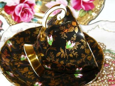 Vintage ROYAL TUSCAN Hand Painted ROSES Gold Gilt Chintz Black TEA CUP & SAUCER