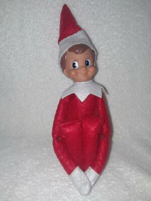 Elf on the Shelf BOY Doll  Brown Hair Blue Eyes. RED outfit NEW