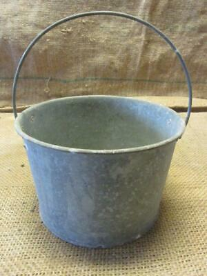 Vintage Galvanized Metal Bucket > Antique Old Iron Pail Pot 9382