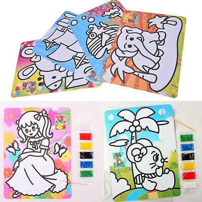 Sand Art Picture Kids Children Colored Sand Painting Drawing Craft Toy#