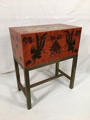 Maitland Smith Asian Style Lacquer Tea Box on Brass Stand Hand Paint Decoration