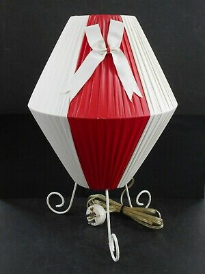 1950S Red & White Plastic Ribbon Shade Table Lamp / Barsony Style