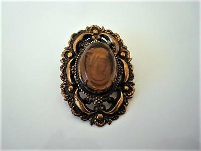 Vintage Brass Tone Pin Brooch With Reverse Carved Amber Glass Cameo Lady As Is