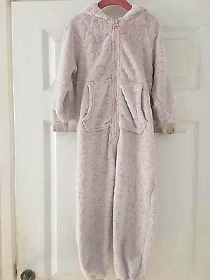 Girls Pink Fleecy 0Nesie All In One Sleep Suit From Next - Age 4 Years