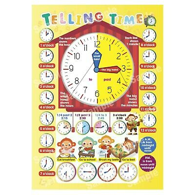 Telling The Time Poster Learning Educational Wall Charts Girl Boy Kids Children