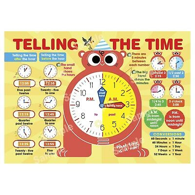 Telling The Time Poster Learning Educational Wall Chart Kids Boys Girls Children