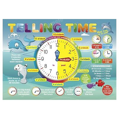 Telling The Time Poster, Learning Educational, Kids Children, Sea Animals Theme