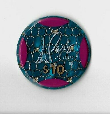 """PARIS""  Casino  ~ $10.oo  blue JETON chip Las Vegas, NV, 1999 B et G rare lot"