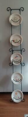 "Set of 5 Small 5-3/4"" Decorative Asian Plates With Wall Rack Holder"