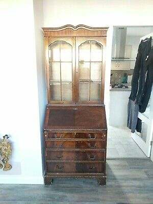 Attractive Large Tall Antique Victorian Mahogany Glass-Door Bookcase Cabinet