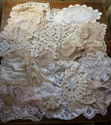 Collection of 30 vintage lace doilies, runners and mats  mainly cream or ecru #A