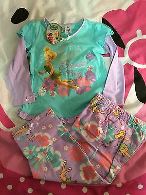 Childrens Licensed Disney Fairies Tinkerbell Sweet Pixie Pyjamas Set Size3 Bnwt