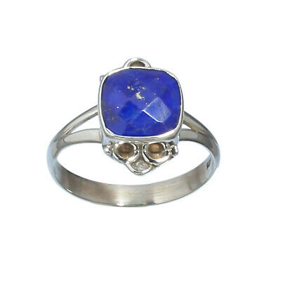 Faceted Lapis Lazuli Gemstone 925 Solid Sterling Handmade Jewelry Ring 8.5