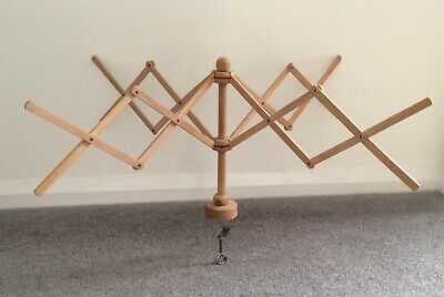 wool yarn wInder wooden vintage umbrella spinner great condition original box