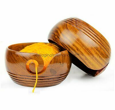 Solid Teak Wood Crafted Wooden Yarn Ball Storage Bowl Spiral Dispenser Decor