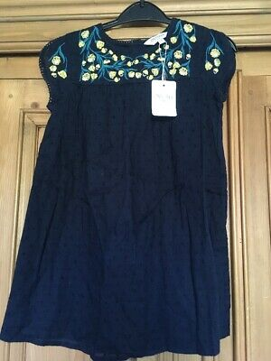 Girls Age 5-6 Outfit Dress Bnwt Navy Broderie Floral Style New