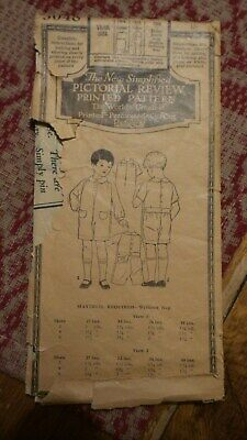 Antique Sewing Pattern PICTORIAL REVIEW  #3048 Boy's Play Suit 2 Yrs