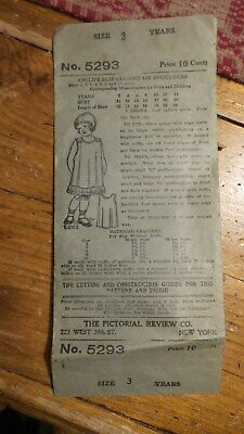 Antique Sewing Pattern PICTORIAL REVIEW #5293 Child's Slip Sz 3 Years