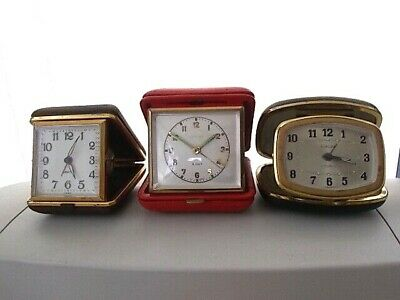 Job Lot Of Three Vintage Travel Folding Clocks - Europoa Equity Estyma - Lot 3