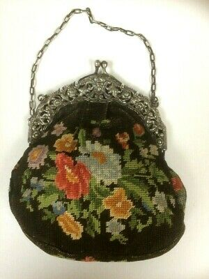 Antique/Vintage Theatre Bag/Purse Tapestry Needlepoint flowers White Metal