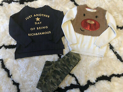 Girls Zara Jumper Mango Cargo Leggings Christmas Jumper Bundle Age 6-7 Years