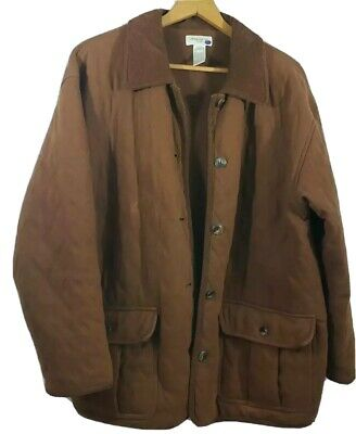 Jones New York Sport Mens Quilted Jacket Brown Button Lined Flap Pocket Cotton L