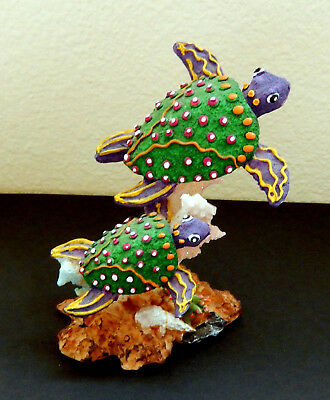 Sea Turtle Figurine with 2 Swimming Turtles in Rich Hand Painted Resin