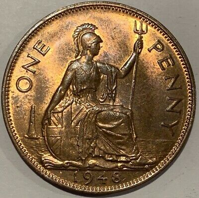 1948 Great Britain GB UK England PENNY Coin - aUNC