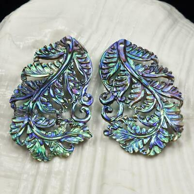 Multicolor Paua Abalone Shell Iridescent Carved Fern Leaf Earring Pair 3.59 g
