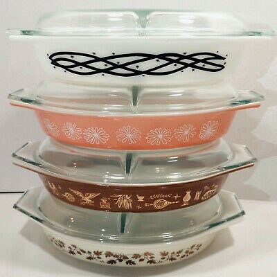 Vintage Pyrex 1.5qt Oval Divided Casserole Dish 063 & Lid 945C Choose from Many