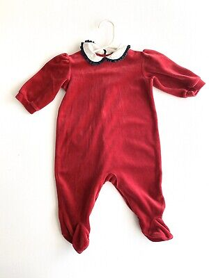 Girls Ralph Lauren Polo 9 Months Red Velour Layette Footed Outfit Valentines Day