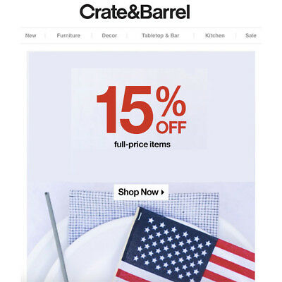 15% OFF Crate and Barrel Coupon - Sent Fast - Expires 12-30-19