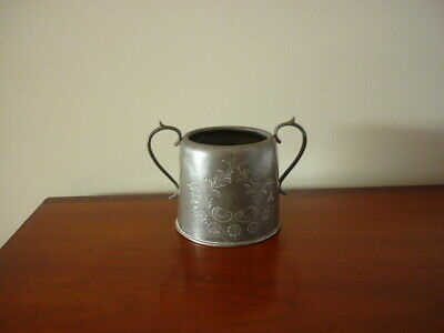 1920's English pewter pot with 2 handles Queen Anne etched decoration