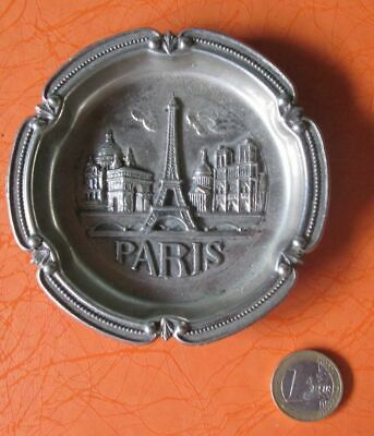 Metal Ashtray Paris Eiffel Tower Notre Dame Cathedral Arc de Triomphe