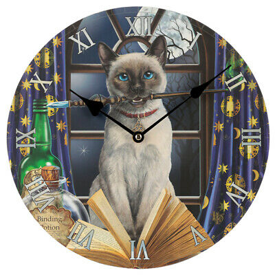 Lisa Parker Wall Clock Cat Witches Magic Wand Binding Potion Wiccan Fantasy