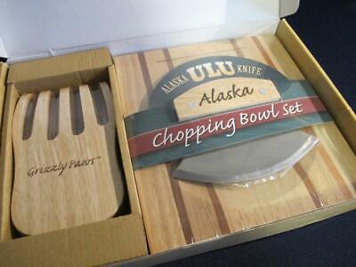 Great Alaska ULU knife Grizzly Paws kitchen hardwood chopping bowl set NOS tool