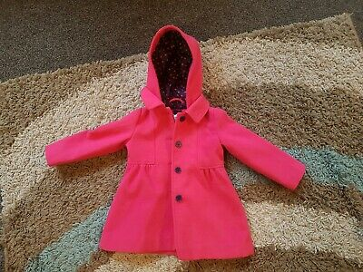 Girls Pink Smart Formal Coat Age 2-3 Mothercare Excelent Condition Lovely Polka