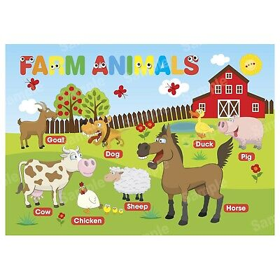 Farm Animals Poster First Learning Educational Charts Toddler Kids Boy Children