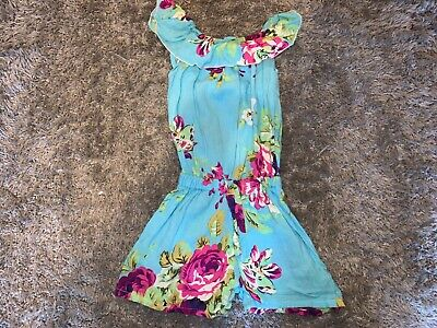 Girls Clothes Blue shorty floral detail age 2-3 years