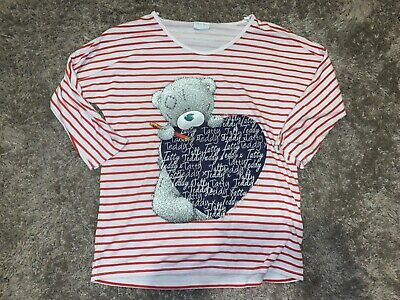 Girls Clothes white/red stripy top tatty teddy motif age 11-12 years