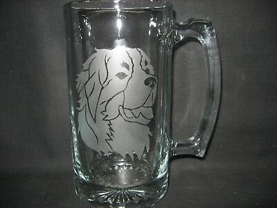 New Etched Bernese Mountain Dog Glass Root Beer Mug