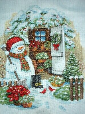 Dimensions Completed Counted Cross Stitch Unframed Picture Garden Shed Snowman