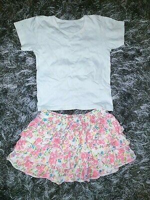 Girls Bundle White Top T-shirt Pink Floral Frill Skirt Size 2-3 Years